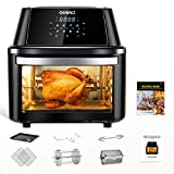 OMMO Air Fryer Oven Combo, 17 Quarts 1800W Air Fryer Toaster Oven with 8 Presets & 40+ Recipes, Oilless Countertop Oven for Air Frying, Rotisserie, Dehydrating and Baking, Dishwasher Safe Accessories