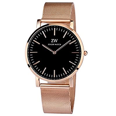 Zeiger New Mens Women Lady Fashion Casual Business Black Dial Analog Quartz Watch with Leather Band (Black and Rose Gold)