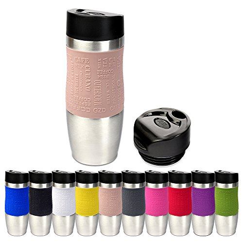 Schramm® Thermobecher in 10 Farben inkl. Ersatzdeckel Isolierbecher ca. 400ml Thermoisolierbecher Kaffeebecher Travel Mug Reisebecher BPA-frei Coffee to go Becher, Farbe:Creme