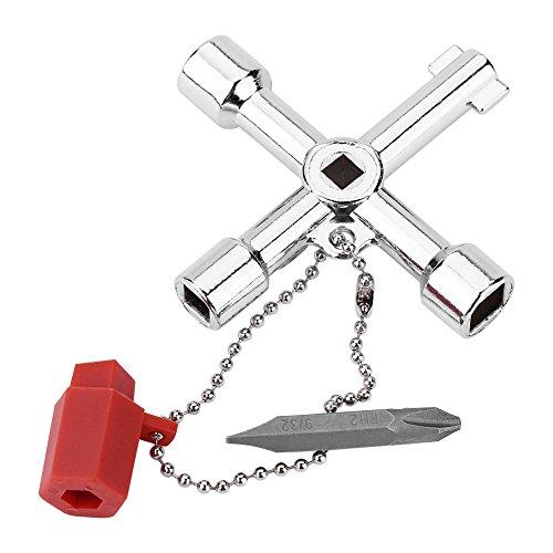 4 Wege multifunktionale Cross Key Schaltschrank Schlüssel Elektrolytische Oberfläche Zink Legierung Klempner Elektriker Werkzeuge mit Bit für gängige Schränke und Absperrsysteme
