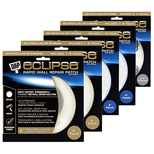 DAP Eclipse Drywall Repair Kit - 8 Extra Strength Wall Repair Patches. No Spackling or Tools Needed, Paint Immediately. Includes 2