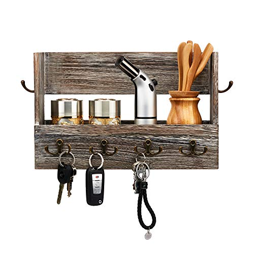 Allkal Wooden Wall Mounted Key and Mail Holder Multipurpose Organizer for Entryway or Hallway and Kitchen with 4 Double Key Hooks at Front and 2 Single Key Hooks at Both Sides