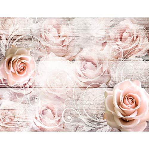 Fototapete Vintage Blumen 352 x 250 cm Vlies Tapeten Wandtapete XXL Moderne Wanddeko Wohnzimmer Schlafzimmer Büro Flur Rosa 9463011b
