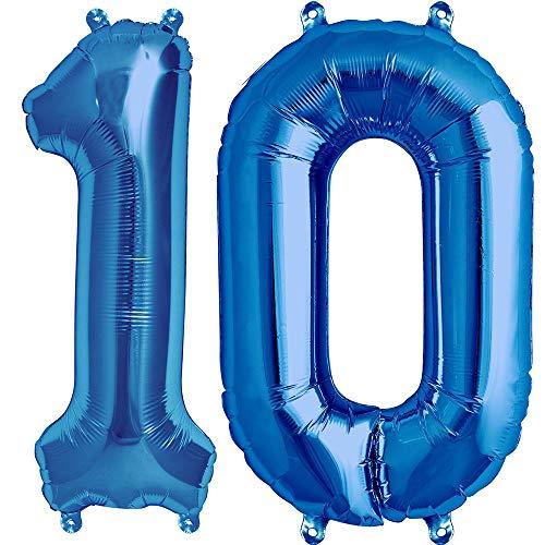 Tellpet Number 10 Balloons, 40 Inch Foil Balloons, Sapphire Blue