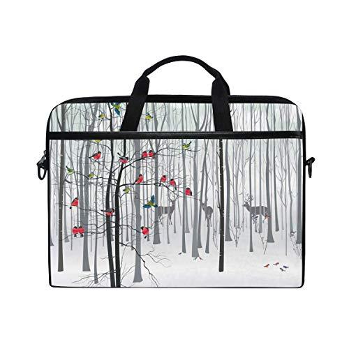 Bolsa de hombro con diseño de ciervo en el bosque para portátil, pájaros y nieve, para hombres y mujeres, bolsa de transporte portátil para ordenador portátil o tableta