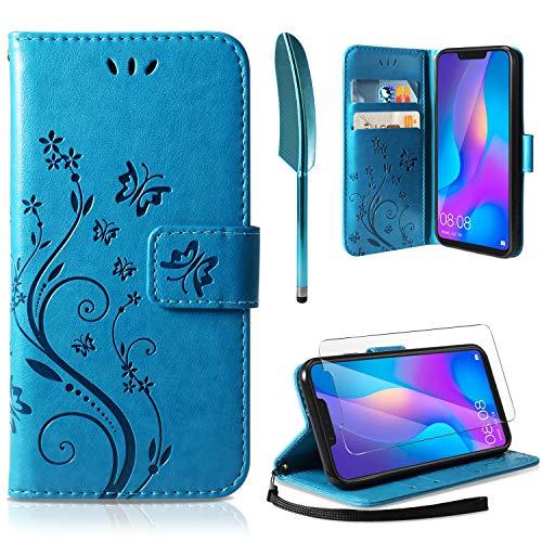 AROYI Handyhülle Huawei P Smart 2019 Flip Hülle Leder, Huawei P Smart 2019 Wallet Hülle Handyhülle PU Leder Tasche Hülle Kartensteckplätzen Ständer Schutzhülle für Huawei P Smart 2019 Blau
