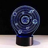 The Solar System Planet Model 7 Color Change Led 3D Night Light Touch 3D Table Mood Lamp Decoración del hogar