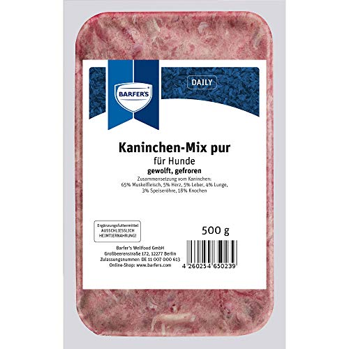 Kaninchen-Mix Pur 500g | Barf-Menü | Muskelfleisch, Innereien & Karkasse (20 x 500g (8,13 € / kg))