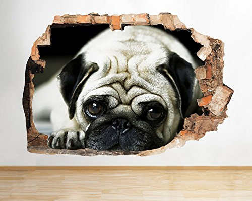 D763 Pug Dog Animal Pet Cute Kids Smashed Wall Decal 3D Art Stickers Vinyl RoomKids Bedroom Baby Nursery Cool Livingroom Hall Boys Girls