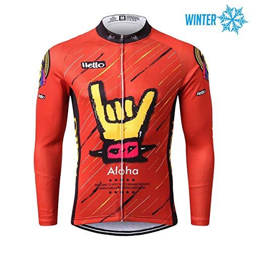 Thriller Rider Sports® Herren Aloha Red Sport & Freizeit MTB Fahrradbekleidung Radtrikot Langarm Thermisch Warm Jacke Large