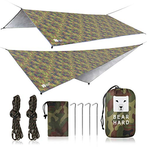 Bearhard Hammock Rain Fly Camping Tarp 10ft x 12ft Set Up Easily and Include 6 Ropes and 6 Stakes Multicolor Lightweight Waterproof Tent Tarp Perfect for Camping, Hiking, Picnic, Fishing, Backpacking
