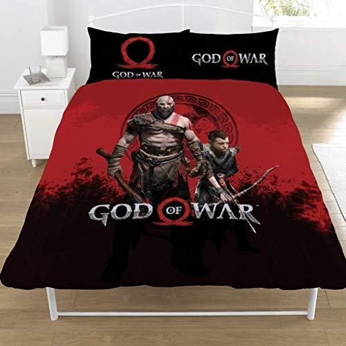 God Of War - Juego de Cama diseño Warriors del Videojuego (Doble) (Negro/Rojo)