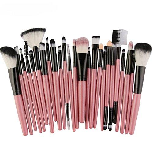 Pinceaux Maquillage, Koly 25 Pcs Maquillage Outils Brush Set Maquillage Trousse De Toilette Laine Makeup brushes set (Rose)