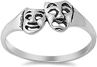 Tragedy Mask Drama Comedy Theatre Ring New .925 Sterling Silver Band Sizes 4-10