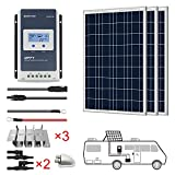 ACOPOWER 300 Watts 12/24 Volts Polycrystalline Panel Solar RV Kits with 30A MPPT LCD Charge Controller/Mounting Brackets/Y...