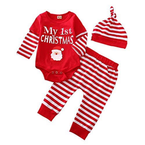 Newborn Baby Christmas Clothes Santa Romper Patchwork Sleeve Bodysuit Plaid Stripe Pants Hat Outfits Set (Red, 0-3 Months)