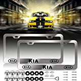 Newest Kia Logo Bling Frosted Silver Aluminum Alloy License Plate Frame,with Screw Caps Cover Set Suit,Applicable to US Standard car License Frame, for Kia(2 Pcs) (Kia)