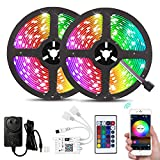 WiFi Strip Light 16.4ft RGB SMD 5050 150LEDs IP65 Waterproof with 12V UL Power Supply and Remot…