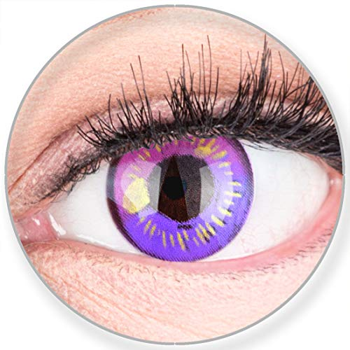 Funnylens Farbige Kontaktlinsen Lila Anime Violet Circle Lenses Heroes Of Cosplay Stark Deckend Ohne Stärke mit gratis Linsenbehälter