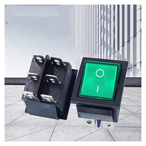 JSJJAYH Interruptor basculante 10pcs KCD4 Verde Interruptor oscilante 6 Pines Barco en Forma de botón pulsador 16A 250V lámpara de luz Verde selector eléctrico ON-Off Accesorios