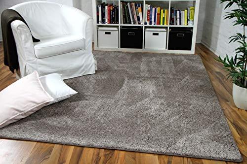 Snapstyle Hochflor Velours Teppich Mona Taupe in 24 Größen