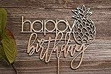 DKISEE Decoración para tarta de piña con texto en inglés 'Happy Birthday', decoración única para tarta hawaiana de 15 cm