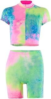 Sofkiny Sports Tie Dye Half Zip Biker Shorts Set Short Sleeve Crop Top Clubwear Tracksuits