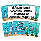 (48 Pack) 4.75 inch x 4.75 inch Mini Ocean Coloring Books Bulk (Mini Coloring Books Bulk, Coloring Book Party Favors for Kids, Goodie Bag Coloring Book)