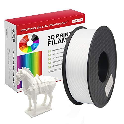 750g Filamento PLA 1,75 mm, Filamento PLA con effetto metallizzato, trasparente, legno, seta, marmo, per stampante 3D e penna 3D, Precisione dimensionale +/- 0,02 mm, bobina da 750g(750g bianco)