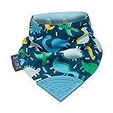Baberos mordedores para niños y bebés – babero tipo cuello con mordedor de silicona – Diseño pañoleta multi-galardonado de Cheeky Chompers – Súper higiénico + absorbente (Baby Dino)