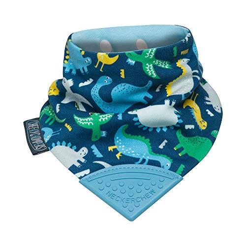 Lätzchen für zahnende Babys und Kleinkinder - Bandana Lätzchen mit Beißring aus Silikon - Preisgekröntes Halstuch Design von Cheeky Chompers - hygienisch + saugfähig + BPA frei (Baby Dino)