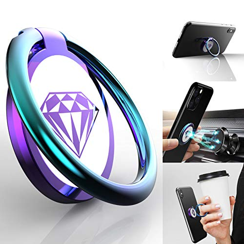 Phone Ring Holder Finger Kickstand, A-Maker 360° Rotation [Shiny Colorful Diamond] Metal Phone Ring Holder Stand,Phone Ring Grip for Magnetic Car Mount Compatible with iPhone, Samsung All Smartphone