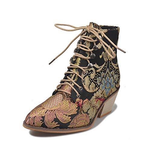 YHZQ Nuevas Botas De Tobillo para Mujer, Botas De Tacón Grueso Bordadas, Botas Cortas con Punta Puntiaguda con Cordones De Otoño Invierno, Zapatos De Moda (35-43EU) black-EU37