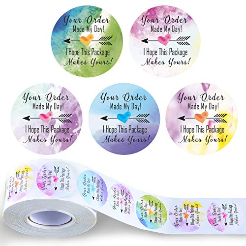 1000 Pieces Your Order Made My Day Stickers 1.5 Inch Watercolor Decorative Business Stickers Round Thank You Business Label Self-Adhesive Stickers for Envelope Bag Seals, 5 Designs