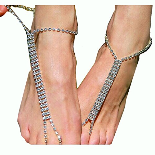 2PCS(1 Pair) Bohemian Simulated Pearl Beads Chain Anklets for Women Beach Rhinestone Barefoot Sandals Toe Rings Anklet Foot Jewelry