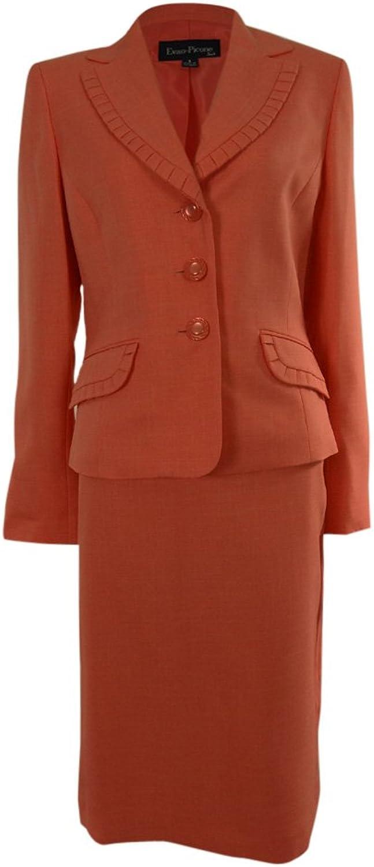 Evan Picone Women's Hampton Bay Pleated Trim Skirt Suit
