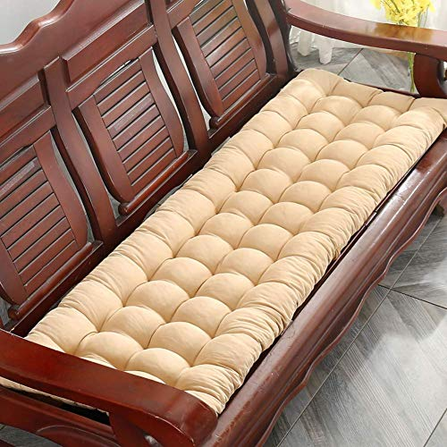 WCY Cojín de Banco de Columpio al Aire Libre para Exteriores, Acolchado Mecedora Cojines Rellenos Transpirable Muebles sobre Muebles Largos Asientos Largos con Corbatas Beige 55x150cm (22x59in) yqaae