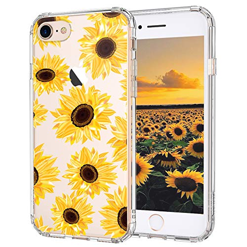 MOSNOVO Sunflower Floral Flower Pattern Designed for iPhone SE 2020 Case/Designed for iPhone 8 Case/Designed for iPhone 7 Case,Clear Case with Design Girls Women,TPU Bumper with Hard Case Cover