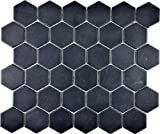 Mosaico de cerámica Hexagon hexagonal negro R10B antideslizante, para pared, suelo, cocina, ducha, baño, azulejos, mosaico