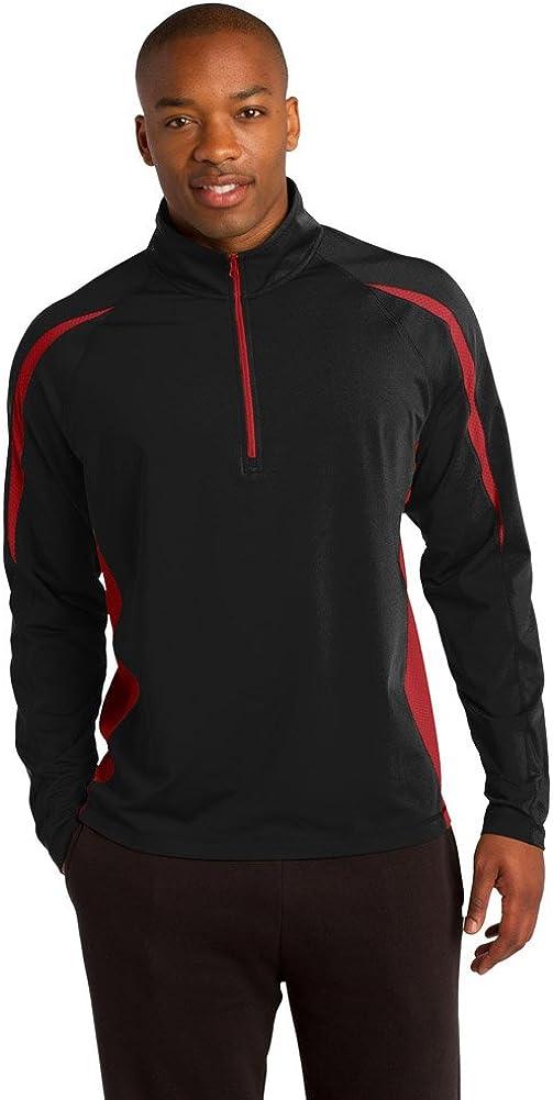 Sport-Tek Mens Sport-Wick Stretch 1/2-Zip Colorblock Pullover