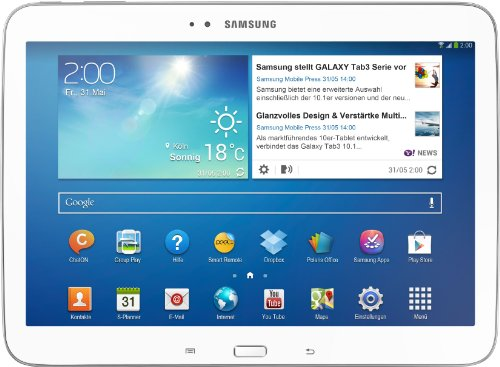 Samsung Galaxy Tab 3 25,7 cm (10,1 Zoll) Tablet (Intel Atom Z2560, 1,6GHz, 1GB RAM, 16GB interner Speicher, 3,2 Megapixel Kamera, 3G, WiFi, Android 4.2) weiß