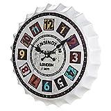 Inveroo Decoraciones 35cm Cerveza Soda Tapa Tapa Reloj De Pared Reloj De Pared con Vintage Kensington Estación Rustic Prints Bar