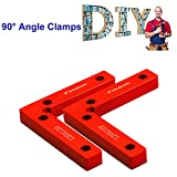 GLESOURCE Aluminium Alloy 90 Degree Positioning Squares 4.7' x 4.7' Right Angle Clamps Woodworking Carpenter Tool Corner Clamping Square for Picture Frames, Boxes, Cabinets or Drawers