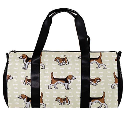 Bolsa de deporte redonda para gimnasio con correa de hombro desmontable para cachorros y perros de caza con patrón de Foxhound, bolsa de entrenamiento para mujeres y hombres