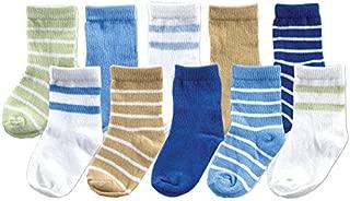 Luvable Friends 10-Piece Baby Socks Gift Set, Blue, 0-9 Months