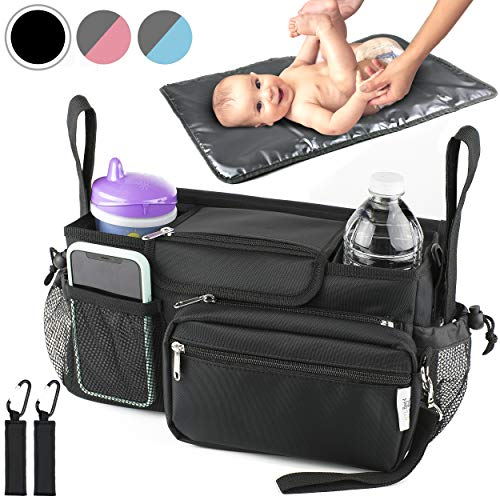 Universal Baby Stroller Organizer Bag with Portable Changing Pad & 2 Hooks Durable Waterproof Material 10-in-1 Compact Go Stroller Accessories Organizer Extra Storage Baby Shower Gift Box (Black)