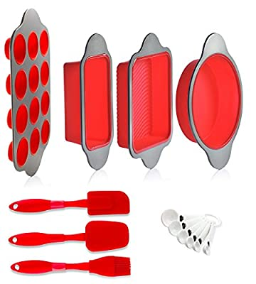 Silicone Baking Pans and Utensils (Set of 13) by Boxiki Kitchen | Silicone Cake Pan, Brownie Pan, Loaf Pan, Muffin Pan, 2 Spatulas, Brush and 6 Measuring Spoons