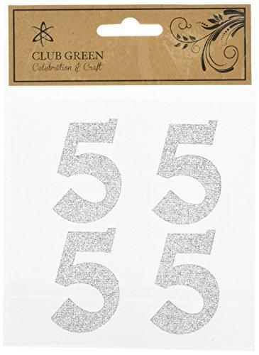 Club Green zelfklevende glitter cijfer 5, zilver, 6 stuks