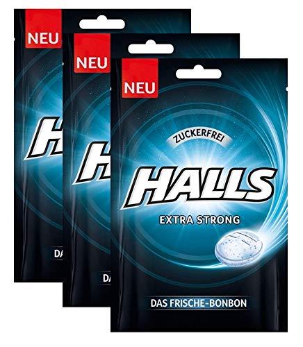 Halls Bonbons Extra Strong zuckerfrei , 3er Pack (3x65g)