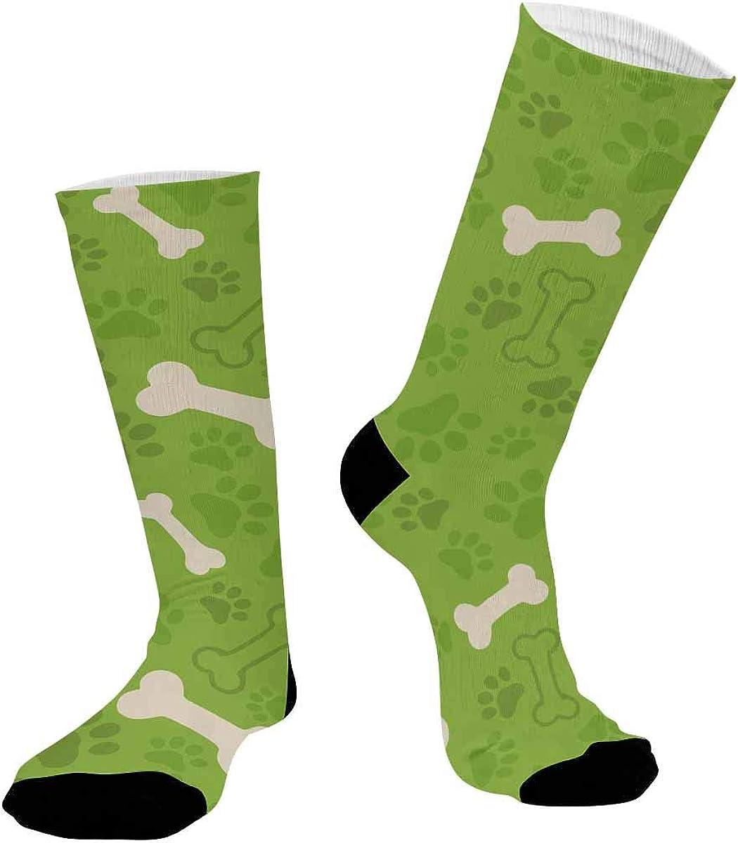 INTERESTPRINT Sublimated Crew Casual Athletic Socks Dog Paw Print and Bone